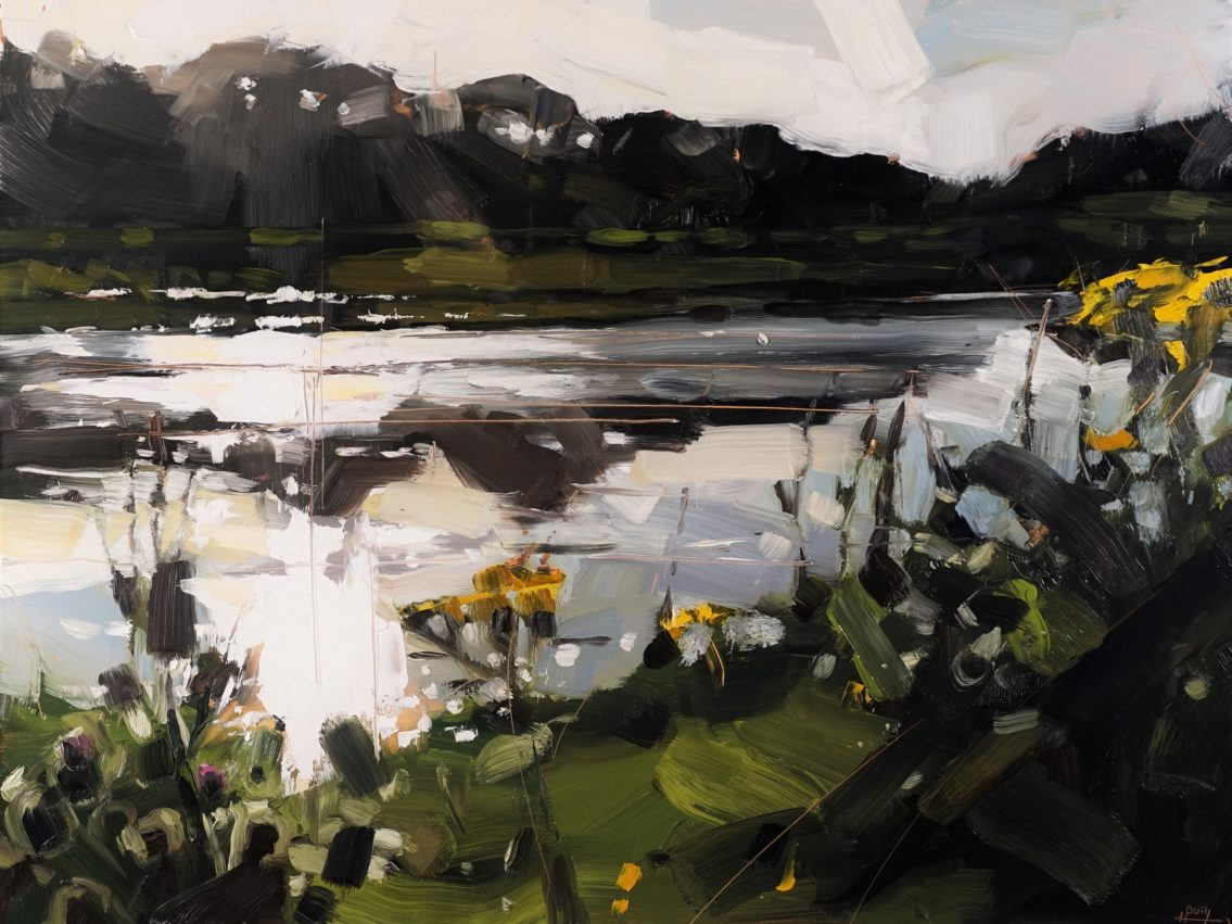 1 River Taw Evening Thistles 46 x 61 cm oil on board