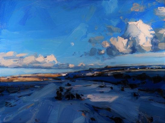 1 Snow and moon over Exmoor 46 x 61 cm oil on board