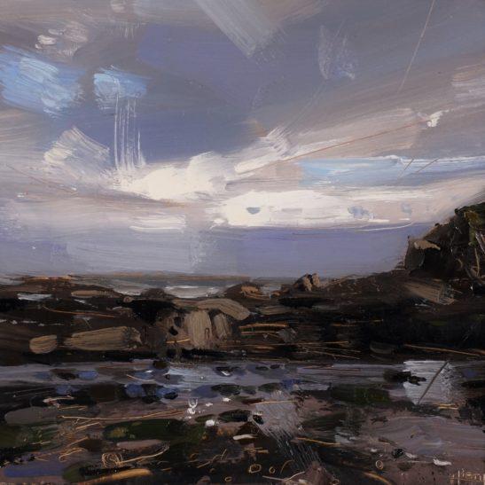 11 Winter Sun Lee Bay 20 x 20 cm oil on board