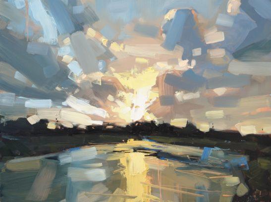 25 River Taw Evening 61 x 46 cm oil on board