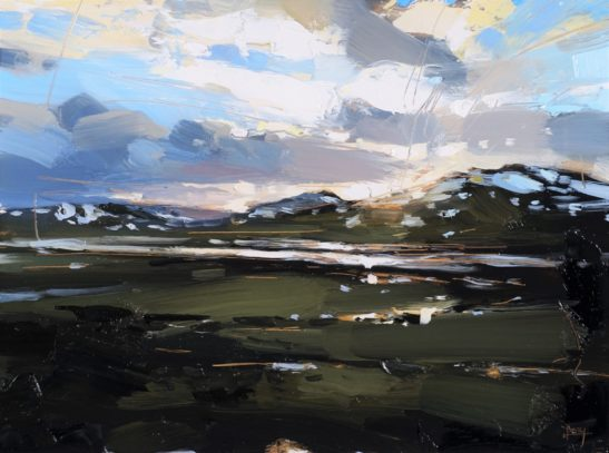 6 A Train Journey through the Southern Uplands 22 x 30 cm oil on board