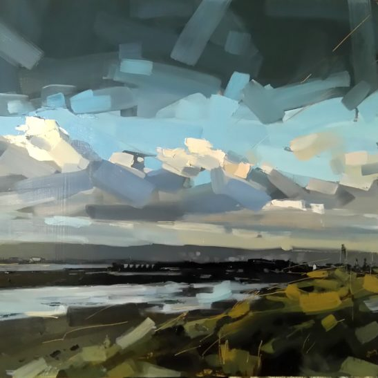 8 Stormy Evening Instow 50 x 50 cm oil on board