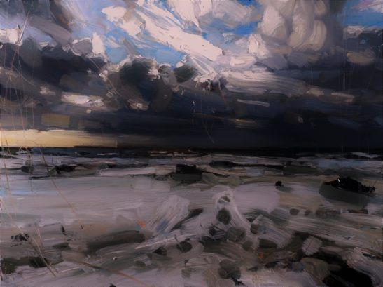 9 Hailstorm and Wild Sea Welcombe Mouth 46 x 61 cm oil on board