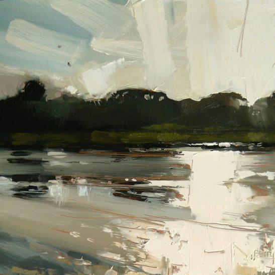 9 River Taw Evening 20 x 20 cm oil on board