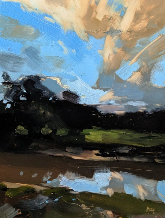 Autumn River Taw 22 x 30 cm oil on board