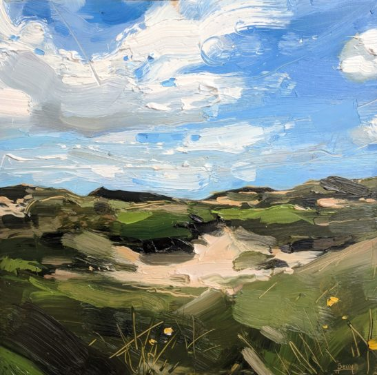 Braunton Burrows 20 x 20 cm oil on board