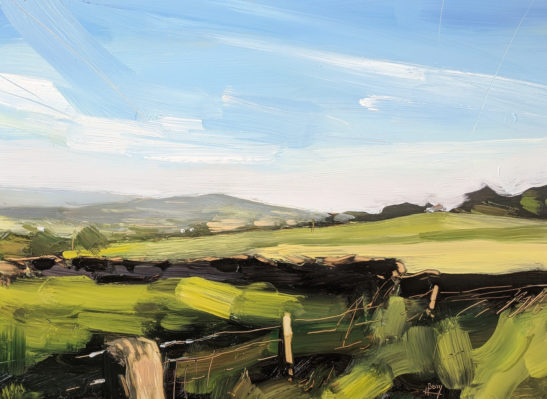 Evening near Upper Cumberworth 22 x 30 cm oil on board