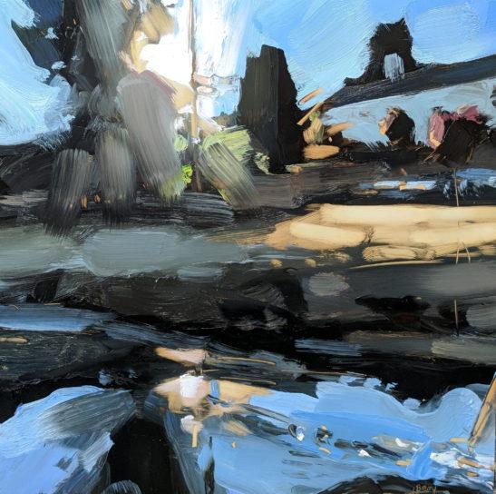 Evening over Venn Water 30 x 30 cm oil on board