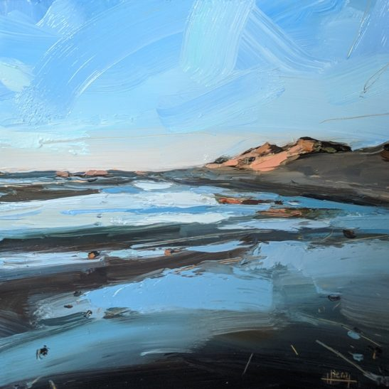 Hot Blue Evening Westward Ho 20 x 20 cm oil on board