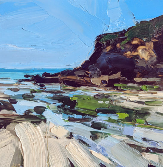 Hot blue Chapel Point Cove 20 x 20 cm oil on board