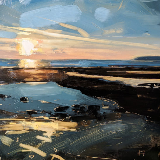 Low Tide Low Sun Westward Ho 30 x 30 cm oil on board