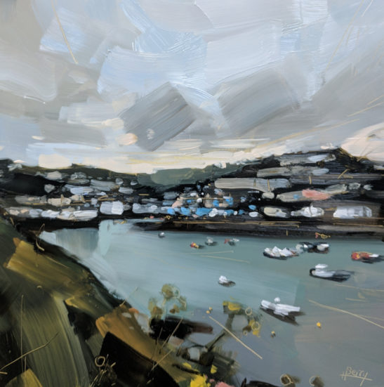 Mevagissey Harbour 20 x 20 cm oil on board