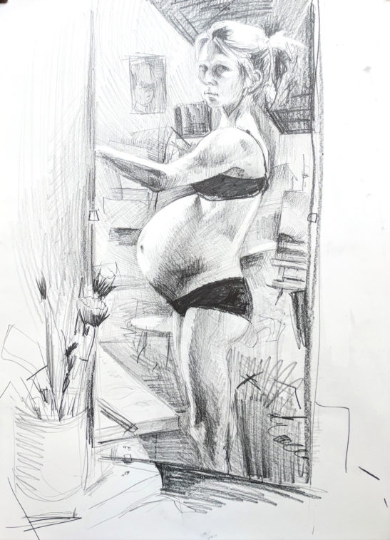 Self Portrait 37 weeks 29 x 41 cm pencil on paper