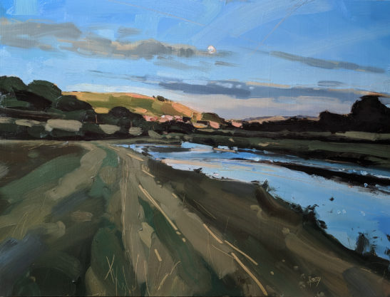 Summer Moon over Codden Hill 60 x 80 oil on board