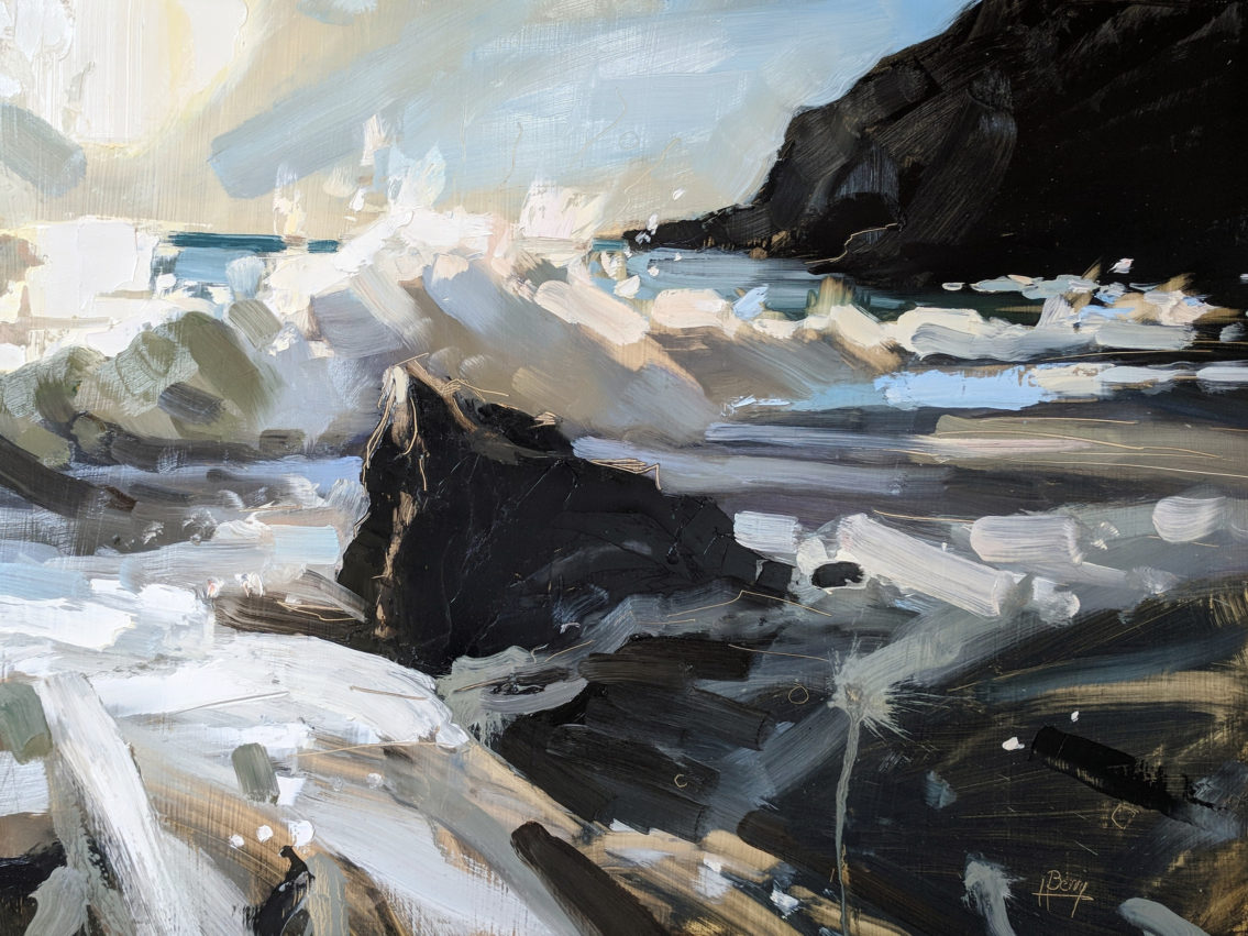 Welcombe Mouth Evening 60 x 80 cm oil on board