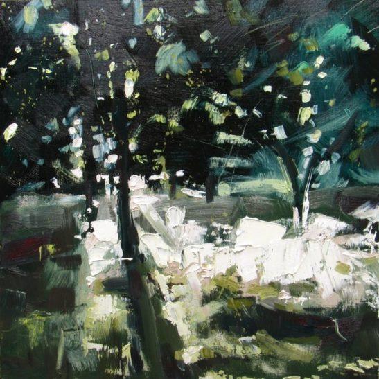 03 summer evening 50 x 50 cm oil on board
