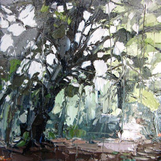 14 rainy woods 20 x 20 cm oil on card
