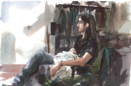15 in the sitting room 16 x 22cm watercolour
