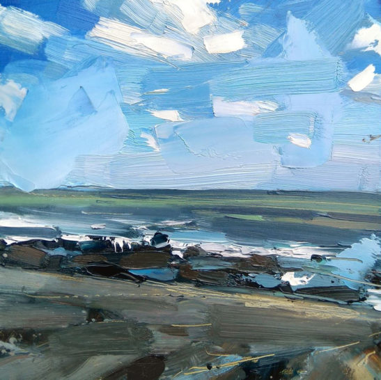 2 The sea at Peppercombe 20 x 20 cm oil on board