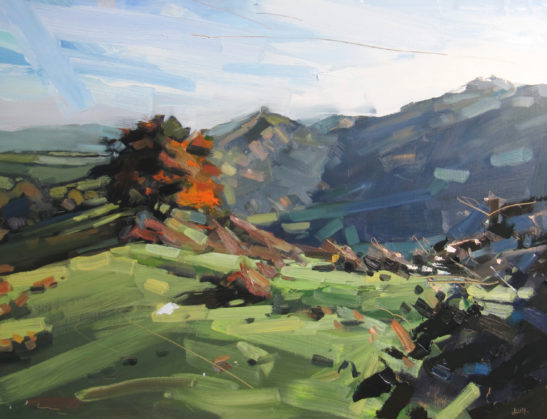 21 Autumn morning Hangmans Hill from Codden 60 x 80 cm oil on board