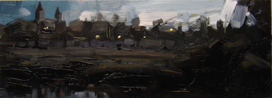 24.5 saone at tournus 50 x 18 cm oil on board