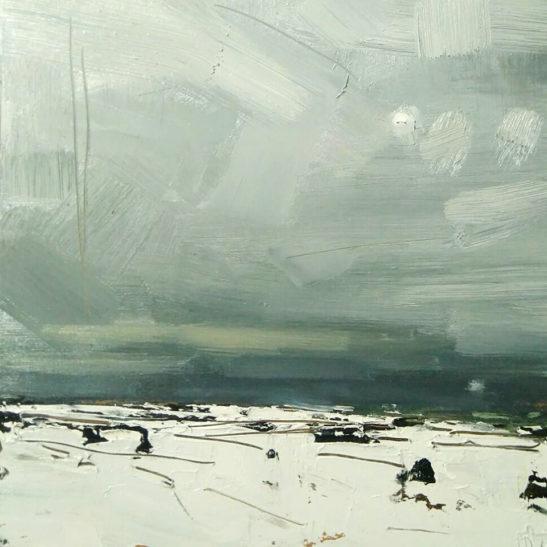 26 Weak Wintery Sun over Exmoor 20 x 20 cm oil on board