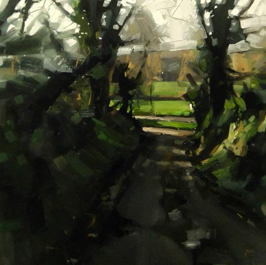 31 Bottom of Codden Hill 50 x 50 cm oil on board