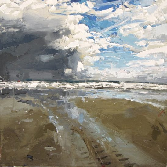 34 a passing squall whitsand bay 50 x 50 cm oil on board