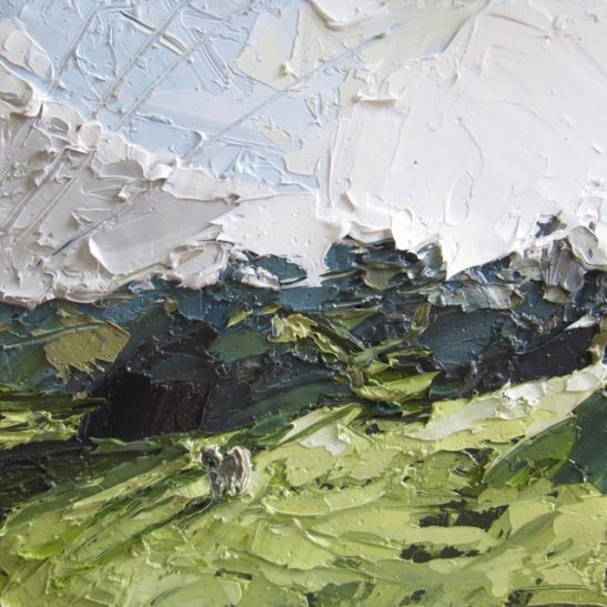 37 south downs wintry afternoon 20 x 20 cm oil on card