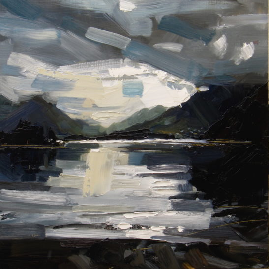 38.5 lake como 40 x 40 cm oil on board