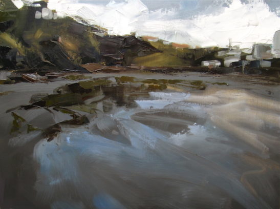 46 combe martin beach 80 x 60 cm oil on board