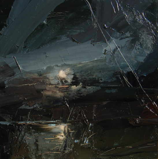 8 moonlit river 30 x 30 cm oil on board