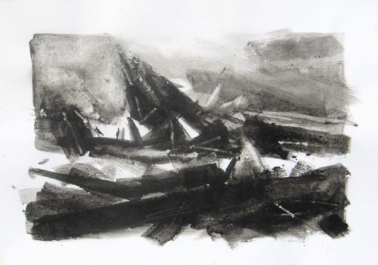 Sea of Ice 42 x 30 cm Bideford Black on paper