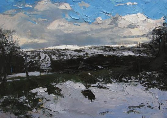 after a flurry of snow 100 x 70 cm oil on board