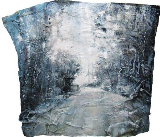 bickham cross moor in a blizzard 100x100 cm