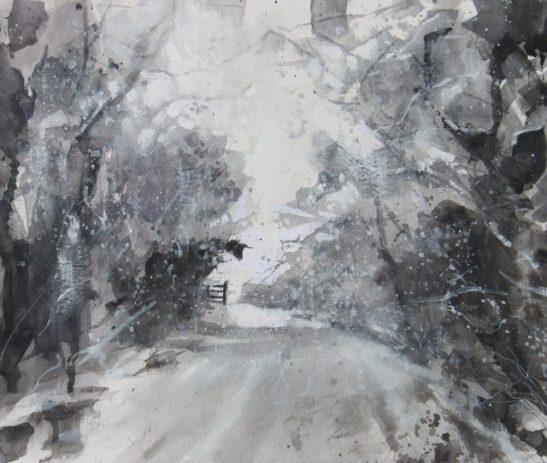 bickham moor in the snow 35x29 cm