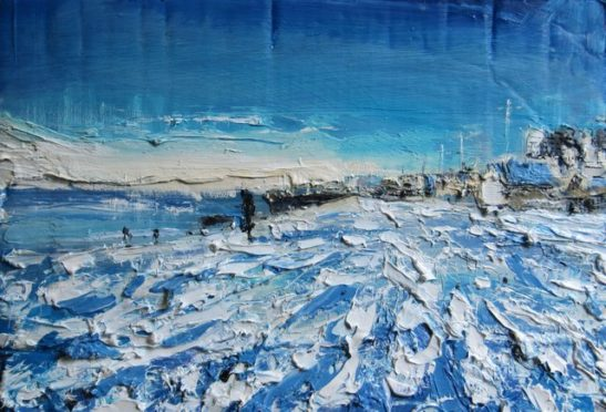 brighton in the snow 2010  oil on board 37 x 24 cm