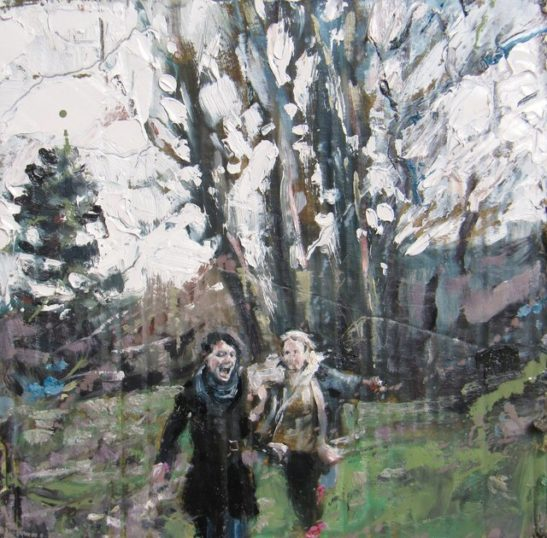 christmas day oil on board