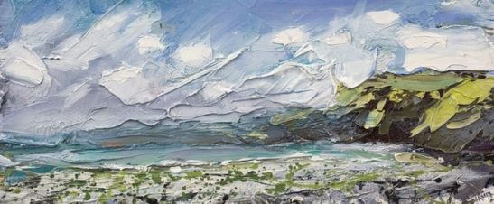 clovelly oil on board  30 x 13cm