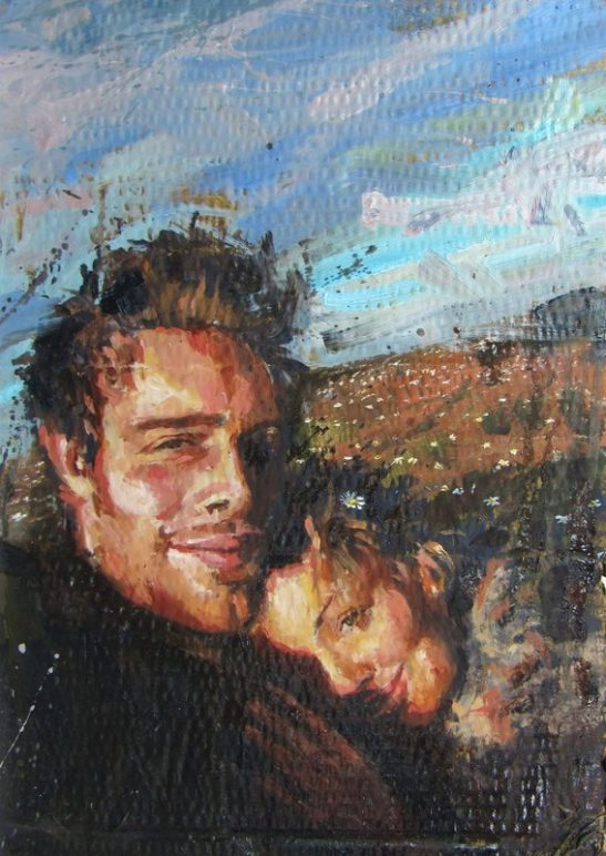 hannah and ben oil on board