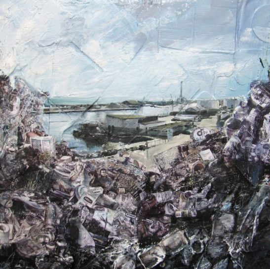 portslade industry mixed media 100 x 100 cm