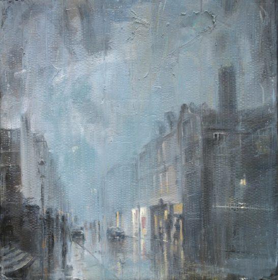 rainy evening guildford high street 102.5 x 104 cm