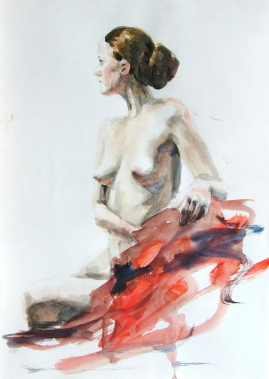 red dressing gown 30 x 40 cm watercolour