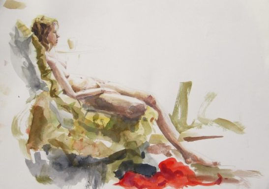 red dressing gown watercolour