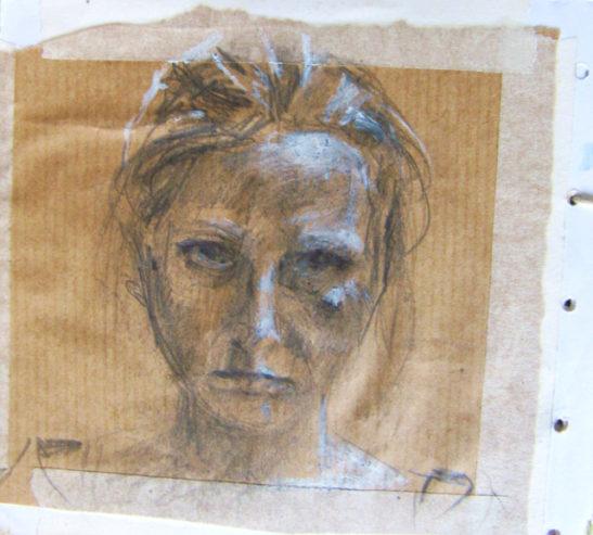 self portrait pencil and gouache