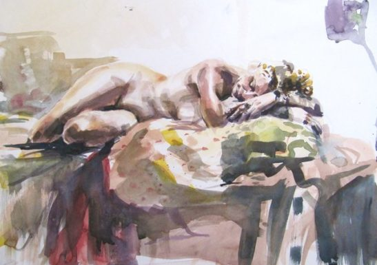 sleeping woman watercolour on paper