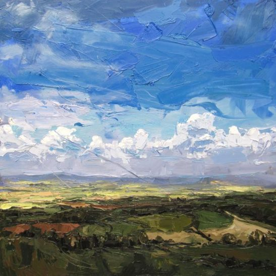 south downs 100 x 100 cm oil on board