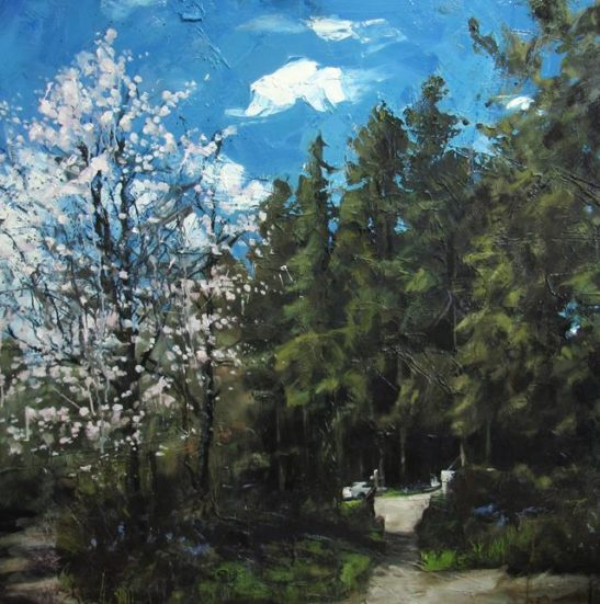 spring eggesford forest 100 x 100 cm oil on board
