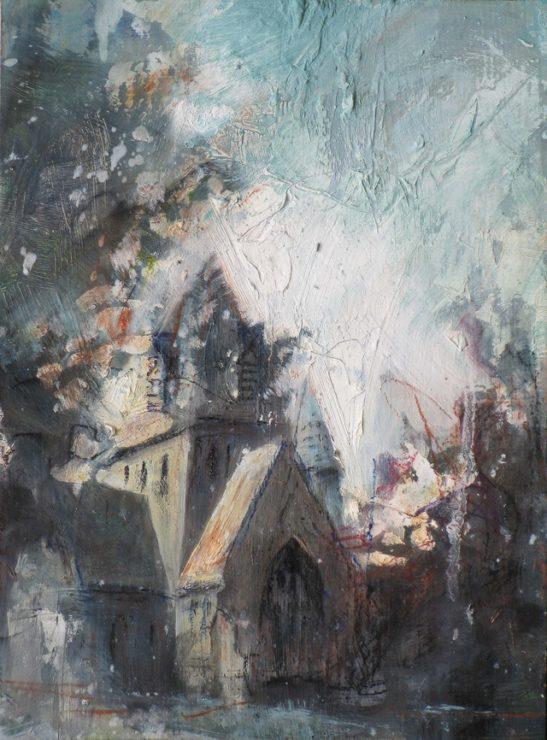 sun behind christ church west wimbledon 20 x 25.5cm