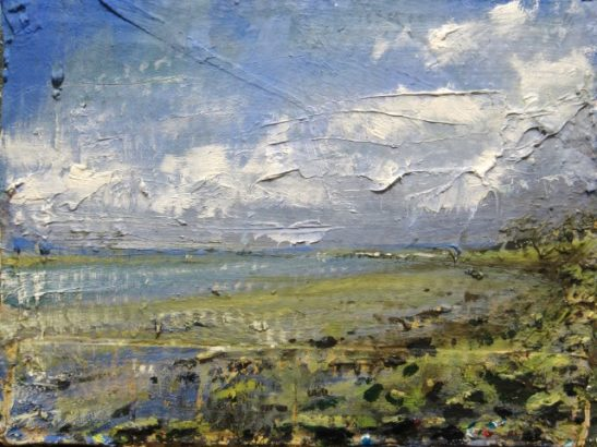 the adur at shoreham oil on board  27 x 21 cm